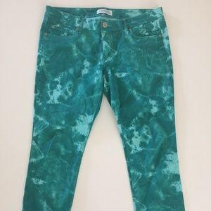 EXPRESS Green Tie Dye Stella Ankle Low Rise Jeans
